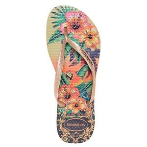 Havaianas Gold Tropical Sandals Size 6W